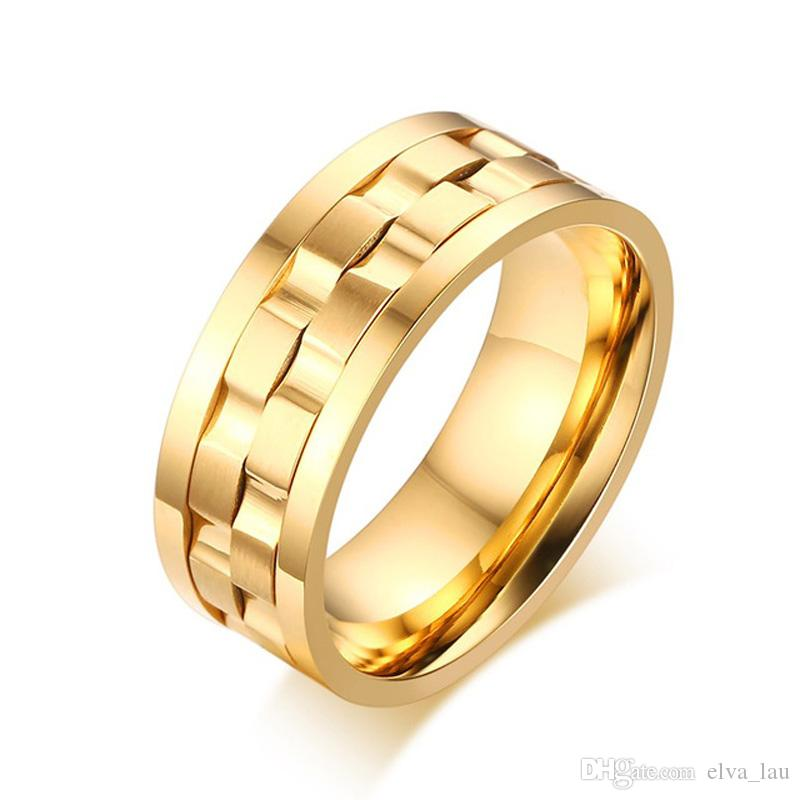 Mens Stainless Steel Spinner Jewelry Rings 9MM Gear Style Unisex Cluster Ring Design Anel Comfort Fit US size 7 to 12
