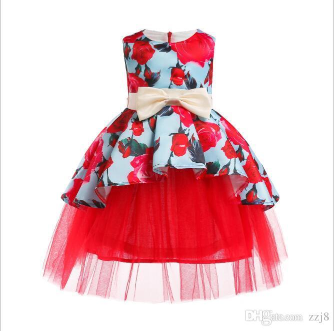 Новорожденных девочек Вечернее платье Новые Конструкции Красный Цветок Фламинго Печати Детская Одежда Маленькая Девочка Свадебные Платья 2-9 Т
