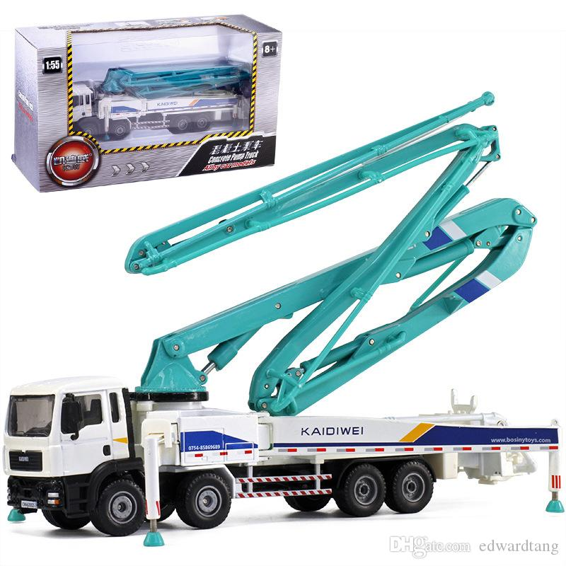 KDW Diecast Alloy Concrete Pump Truck Car Model Toy, Engineering Vehicle, 1:55 Scale, for Xmas Kid Birthday Boy Gift, Collect 625025, 2-1