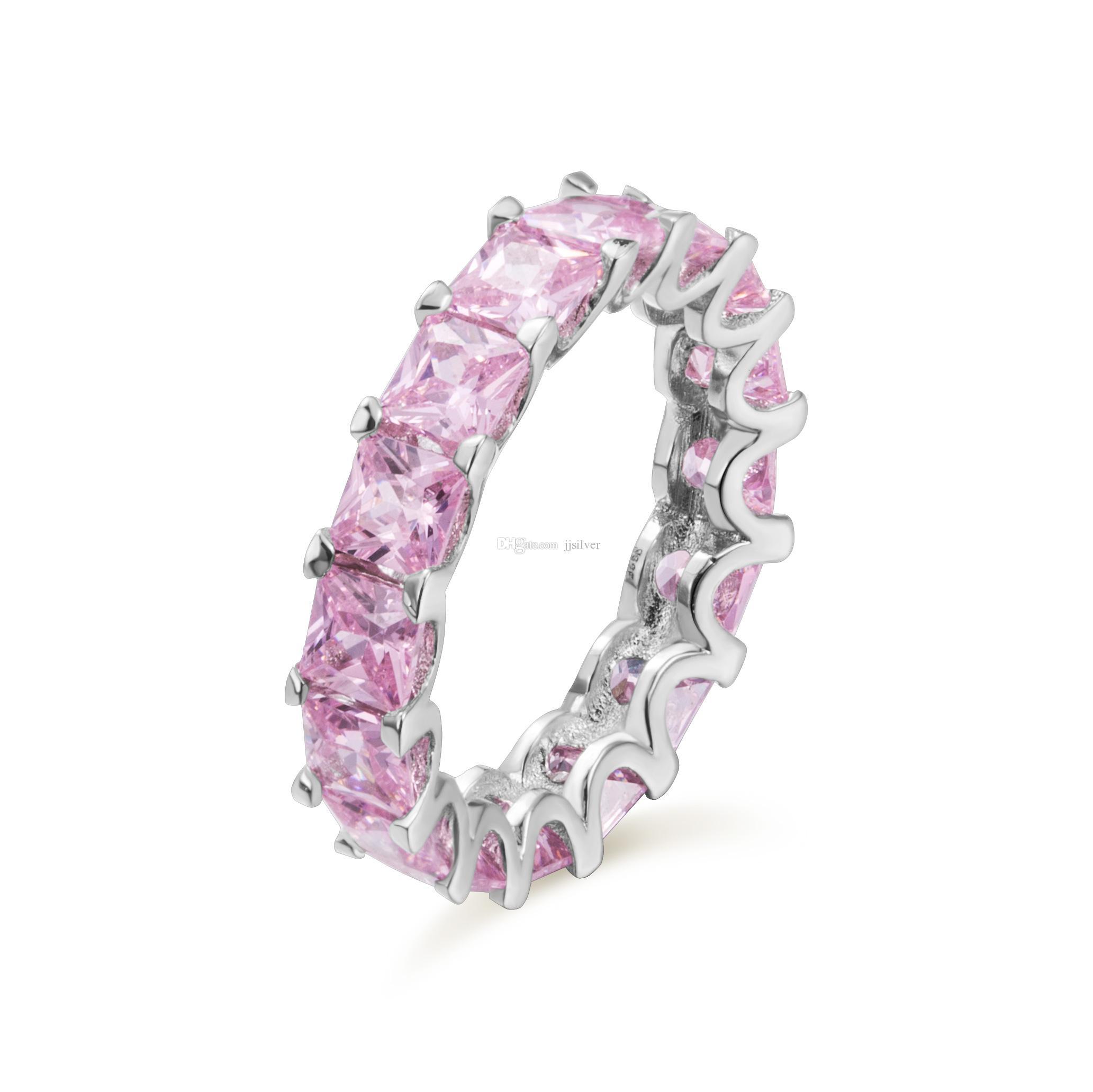 Moda takı 100% Yeni Marka Tasarım 18 K Beyaz Altın GF Swarovski Kristal Düğün Band Yüzük Sz 6-8 Hediye renk cz ile tüm satır