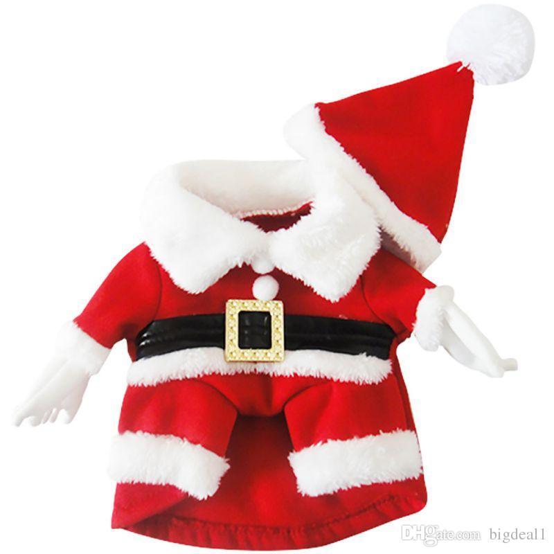 Neue Hundekostüm Weihnachten Pet Dress Up Produkte Mit Hut Hündchen Katze Liefert Outwear Kleidung Rot Schwarz Gürtel Mäntel
