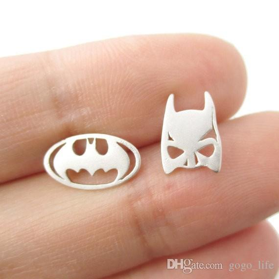 Batman Themed Bat Mask and Logo Shaped Stud Earrings for Women DC Comics Super Heroes Earrings Fashion Jewelry