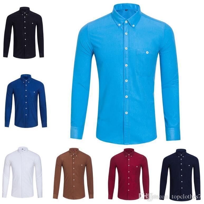 Горячие продажи осень и зима мужская с длинными рукавами платье рубашка чистая мужская повседневная рубашка мода Оксфорд рубашка социальная Марка одежда