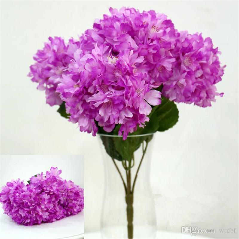 Gefälschte Kirschblütenbündel (5 Köpfe / Stück) Simulation Begonia Sakura für Hochzeit Home Showcase Dekorative Künstliche Blumen