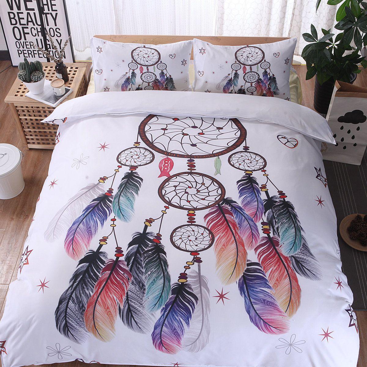 Bohemian Feather Elk Duvet Cover Set 2/3Pcs Queen King Bedclothes Bed Linen Bedding Sets No Sheet No Filling