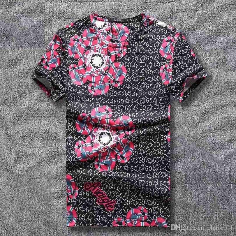2018 marka yeni hip hop erkek baskı T-shirt kısa kollu% 100% pamuk-yastıklı Polo takım gömlek erkek T-shirt kalça 3G tasarımcı erkek T-shirt.50
