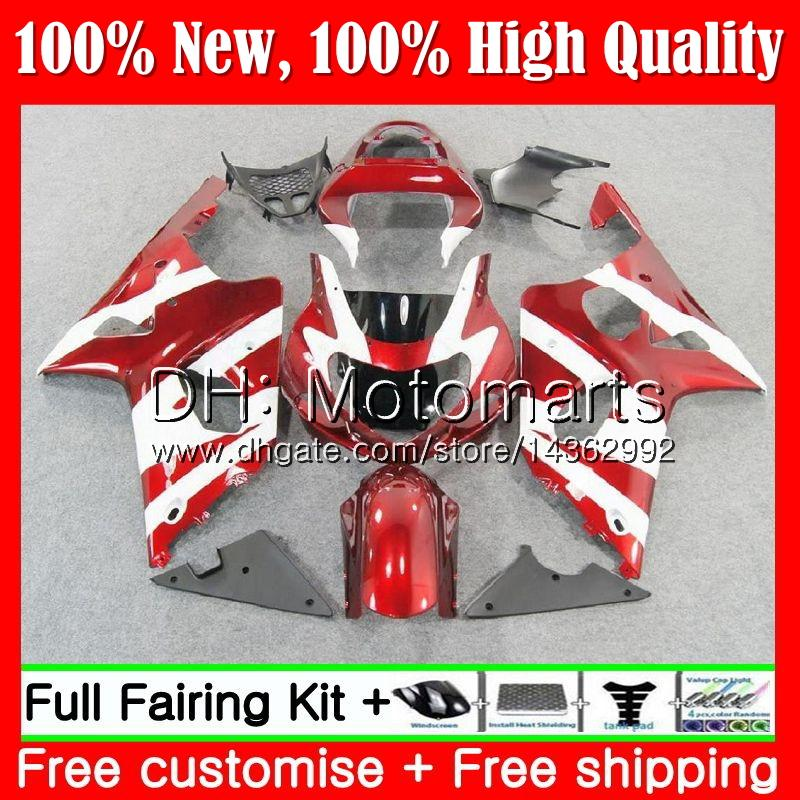 Cuerpo para SUZUKI GSXR 1000 CC K2 Rojo blanco GSX-R1000 00 02 28MT18 GSXR1000 00 01 02 GSXR-1000 GSX R1000 2000 2001 2002 K2 Fairing Bodywork
