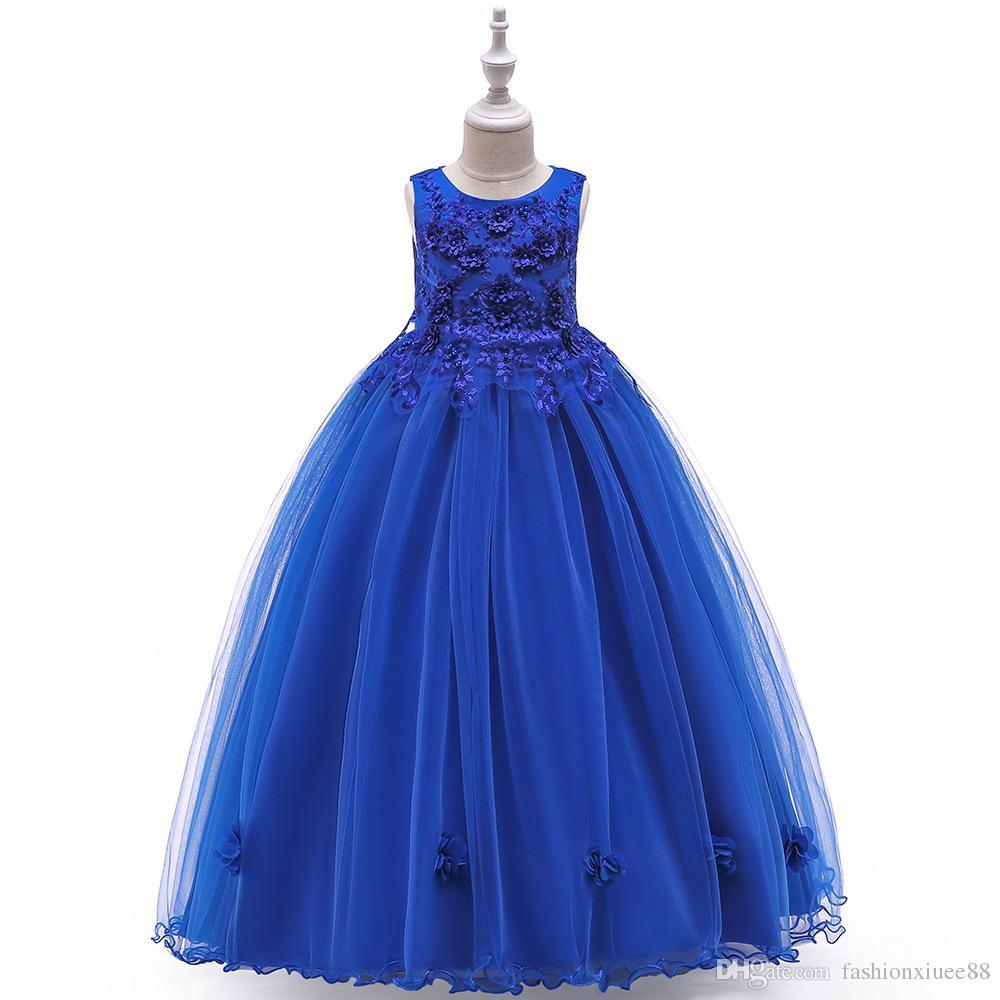 Новый Принцесса Королевский Синий Аппликации Дети Цветочница Платья Sleevesless С Бантом Тюль Бальное Платье Девушка Конкурс Вечернее Платье На Заказ