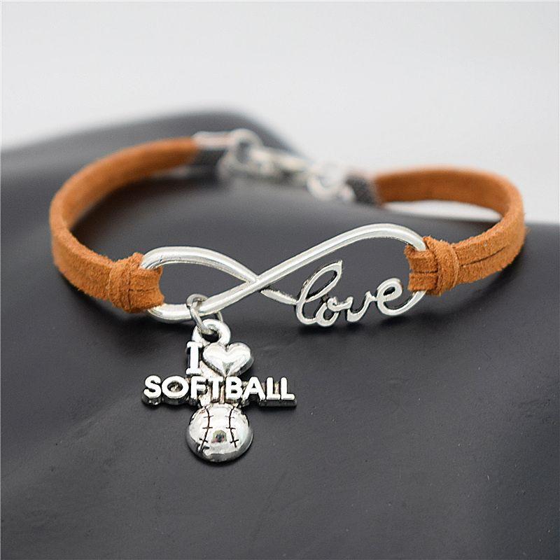 Trendy Infinity I Love Softball Pendant Distance Charm mens Jewelry handmade brown Leather Rope lucky gift Bracelets & Bangles for women men