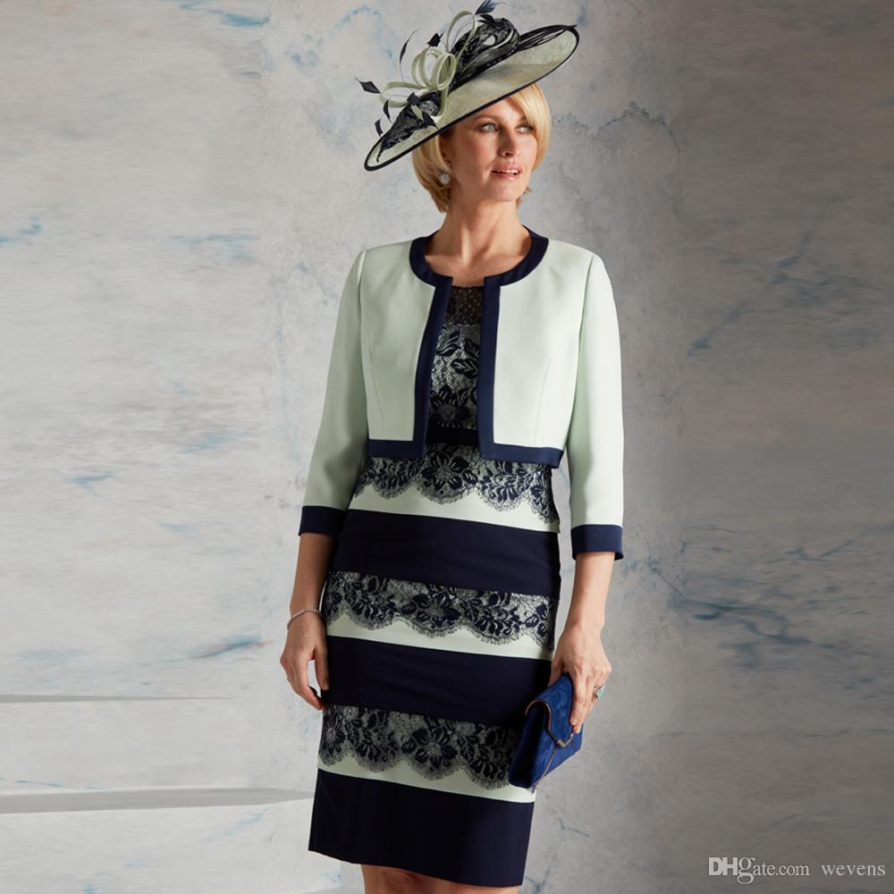 Современная колонка длиной до колена атласные платья матери совок шеи кружева многоуровневого юбка вечернее платье короткое платье выпускного вечера с курткой