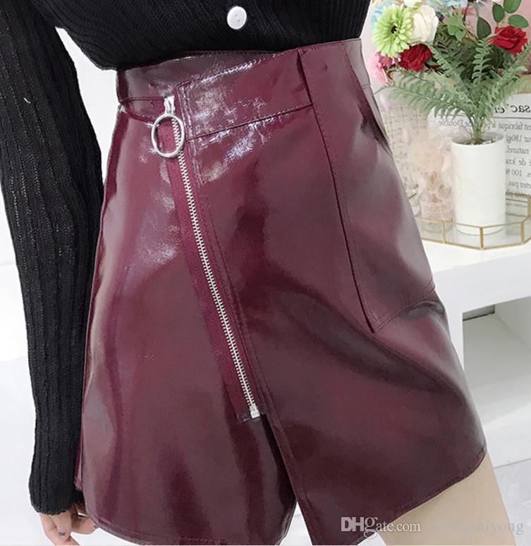 Grátis enviar cintura Alta metade do corpo saia curta saia de couro feminino 2018 novo estilo