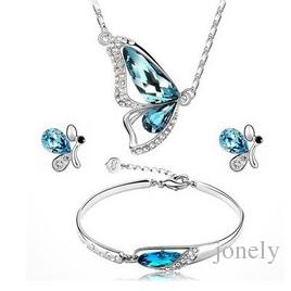 Jewelry Set Austria Crystal Jewelry Blue Butterfly Three Piece Set Earring +Bracelet+Necklace For women Hot Sale