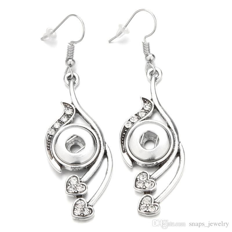 3Styles Noosa Chunks water drop Heart love snap button earrings crystal 12mm snap button dangle earrings for women snap button jewelry