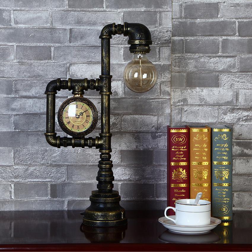 Industrial retro estilo tubulação de água candeeiro de mesa Criativa do vintage Edison bulbo lâmpada de mesa para restaurante quarto interior luminária