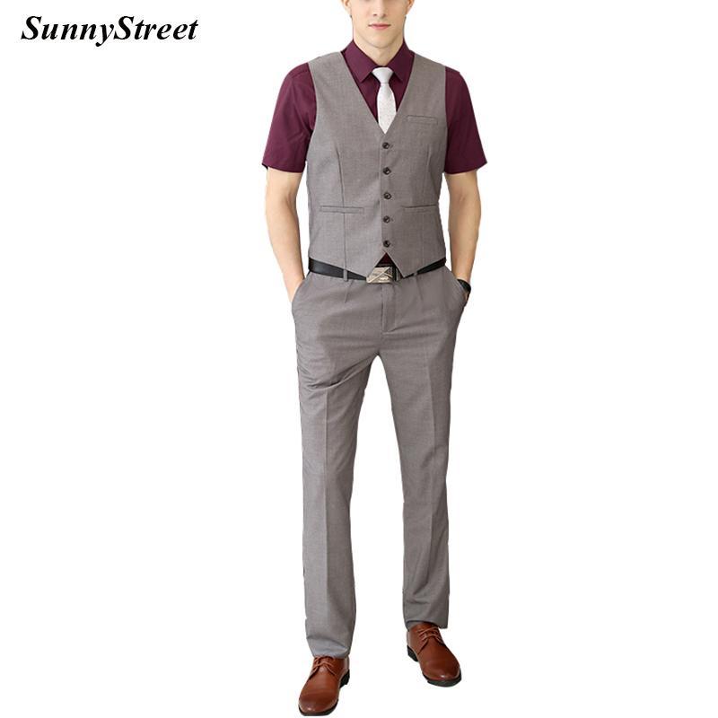 Herren Weste Taille Mantel mit Hosen 2 Stück Set für Business-Anzug Karriere tragen grau schwarz Navy Wein lila Farbe