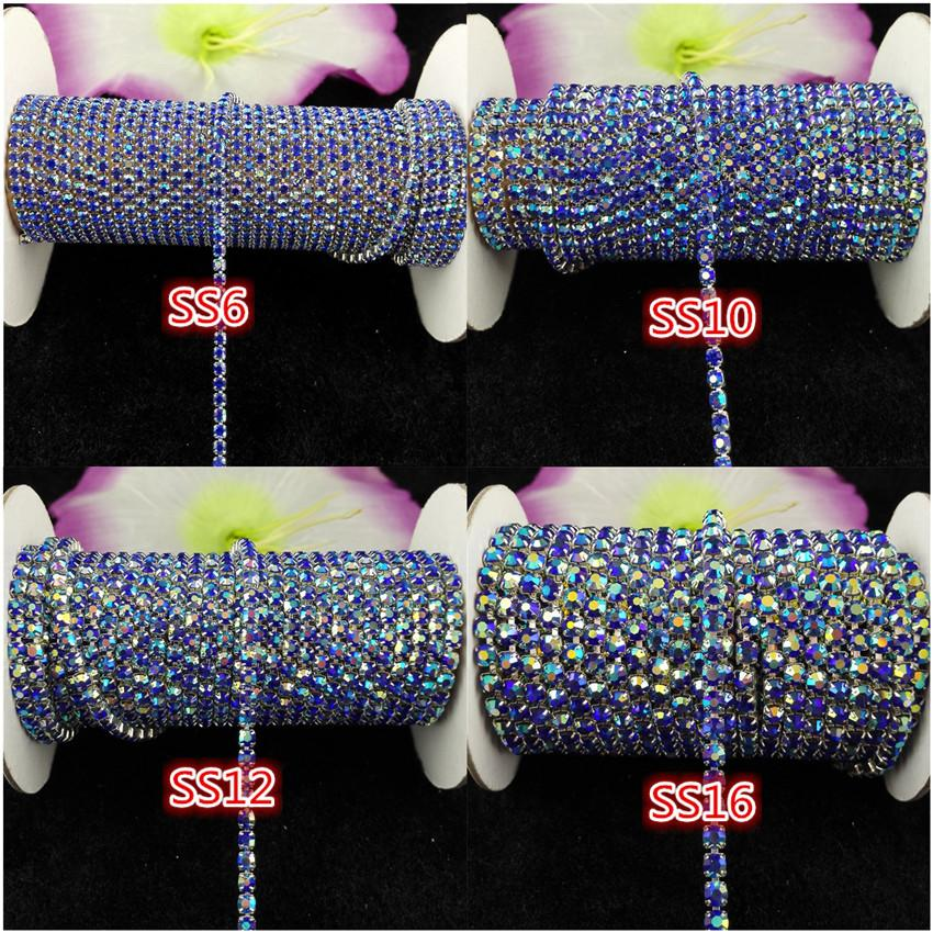 10yards/roll ss6-ss16 Sapphire blue AB rhinestones Crystal glass Rhinestone chain Compact Silver chain for phone,cups,mouse,applique