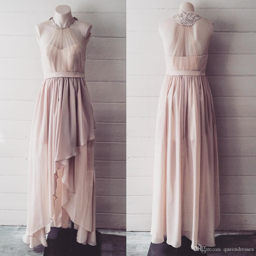 Real Photo Peach Hi-lo Chiffon Evening Dresses Short Front Long Back Beaded Cocktail Party Dress Custom Made Special Occasion Evening Gowns