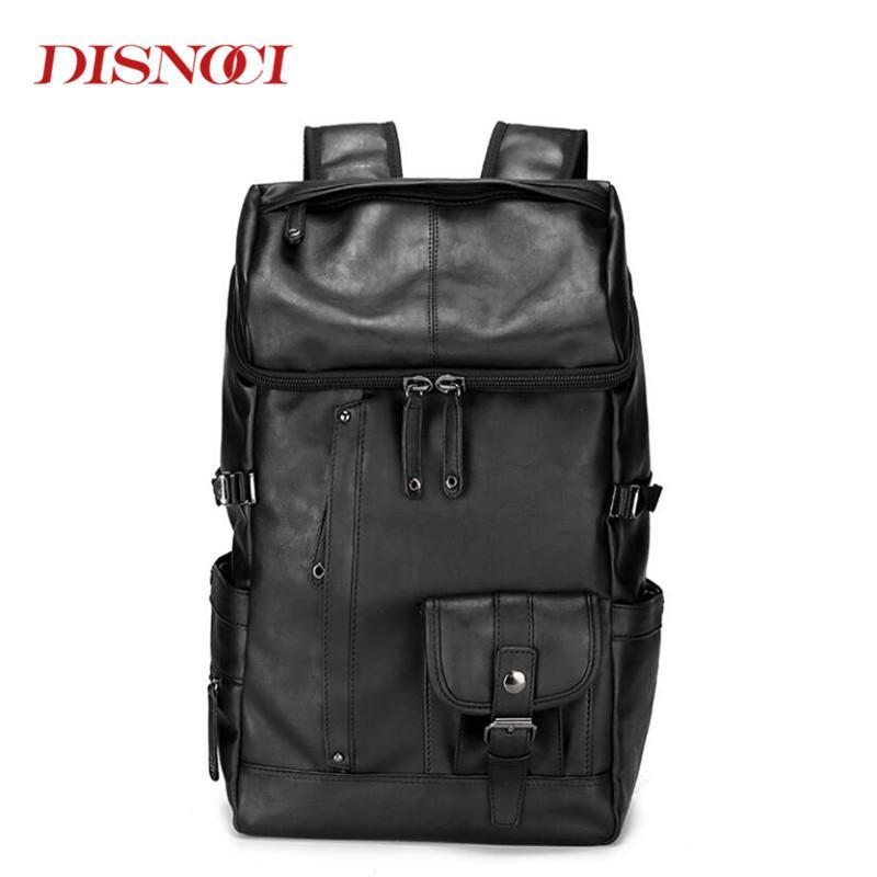 Homens mochila couro macho sacos funtuais homens mochila pu grande capacidade de viagem sacos de escola para adolescente