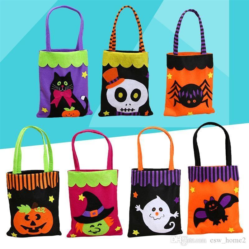 Bolsa de tela no tejida de Halloween Bolsa de truco o invitación Bolsa de caramelos Fiesta de mano portátil Festival de fantasmas para niños Halloween