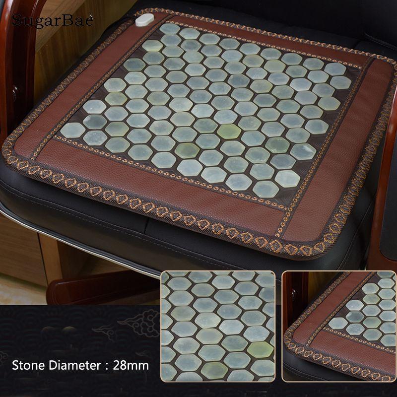 Jade Heating Cushion High Quality Hexagonal Jade Mat Tourmaline Seat Mat Electric Heat Mats Size 45X45cm