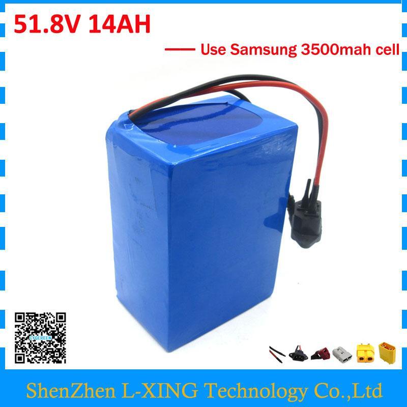 Cargos de aduanas gratis 52V 14AH batería 51.8V 14AH batería de scooter 52V ebike batería uso Samsung 3500mah celda 30A BMS con 2A Cargador