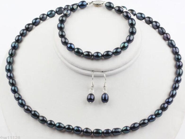 7-8mm Natürliche Schwarze Reis Süßwasser Perlenkette Armband Ohrringe Schmuck-Set