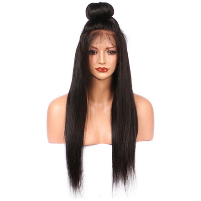 Peluca negra de aspecto natural Peluca larga de encaje sintético recto sedoso sin cola con pelo de bebé Pelucas baratas resistentes al calor de 180% de densidad para mujeres
