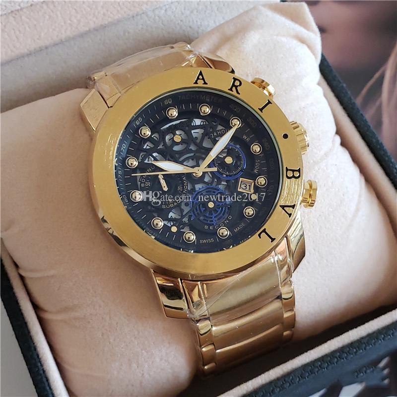 Venda quente Novo Estilo de Luxo Mens Watch Pequeno Mostrador do Trabalho de Toda a Função Cronógrafo Relógios de Alta Qualidade Designer de DIAGONO de Pulso De Quartzo