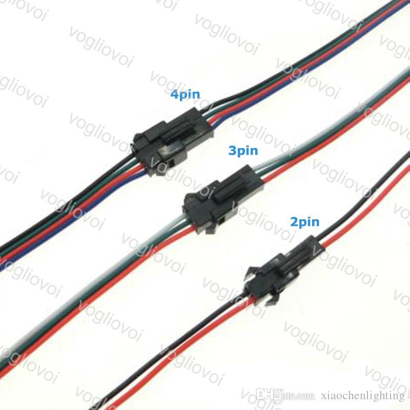 Accesorios de iluminación Conector de alambre LED 2 Pines 3Pins 4Pins Enchufe masculino al bloque de terminales femenino Fácil ajuste para la tira 10 cm Longitud EPACKET
