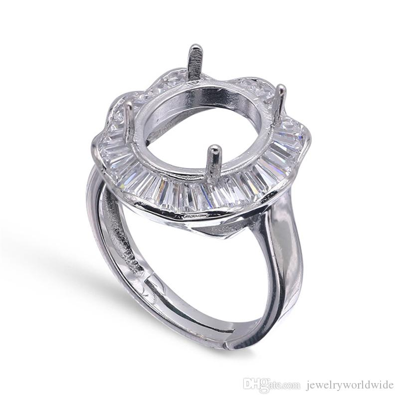 Impostazioni di montaggio semi anello per pietre ovali 10x12mm solido argento 925 donne gioielli regali di nozze