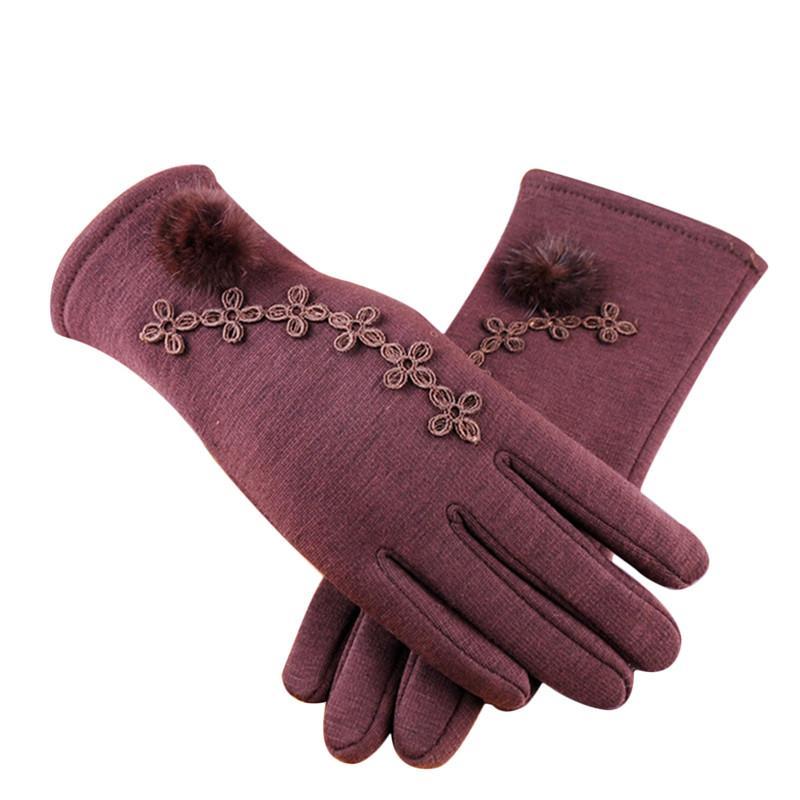 قفازات الصوف الدافئة الشتاء لمس للنساء قفازات 2018 القطن محبوك قفازات الفراء pompom ساخنة الإناث guantes موهير
