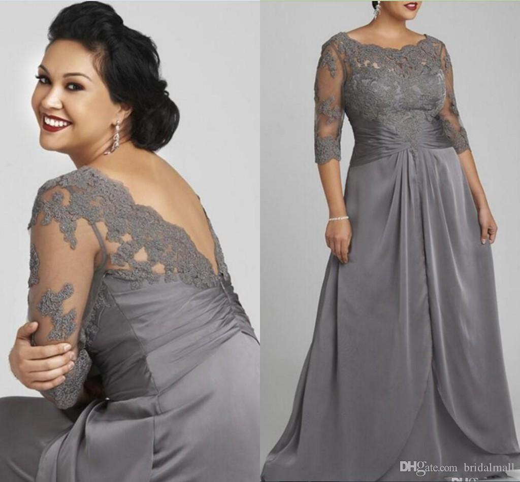 Совок плюс размер складки шифон вечерние платья кружева топ Половина рукава вечерние платья с открытой спиной мать невесты платье невесты дешевые