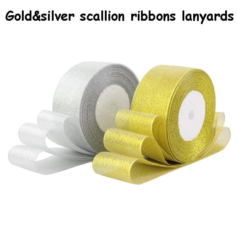 Rubans / terrains pour échalotes Goldsilver de haute qualité 20-50mm de large pour la décoration de mariage, boîtes de cadeaux, emballage 100yard / lot
