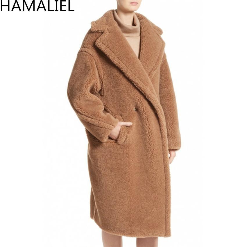 HAMALIEL Pista da donna inverno caldo lungo Outwerwear 2018 Faux lambswool manica lunga bavero collo allentato Cappotto di lana femminile spesso