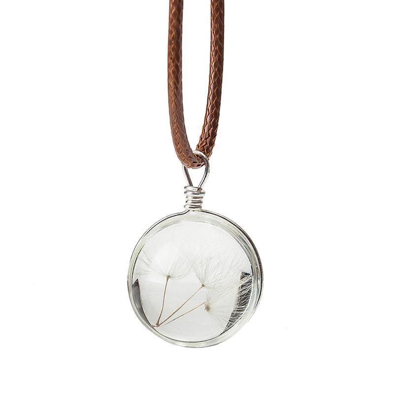 Natural Dandelion Seed Crystal Necklace Men Women Handmade Glass Round Pendant Leather Chain Necklace Unique Female Jewelry Gift