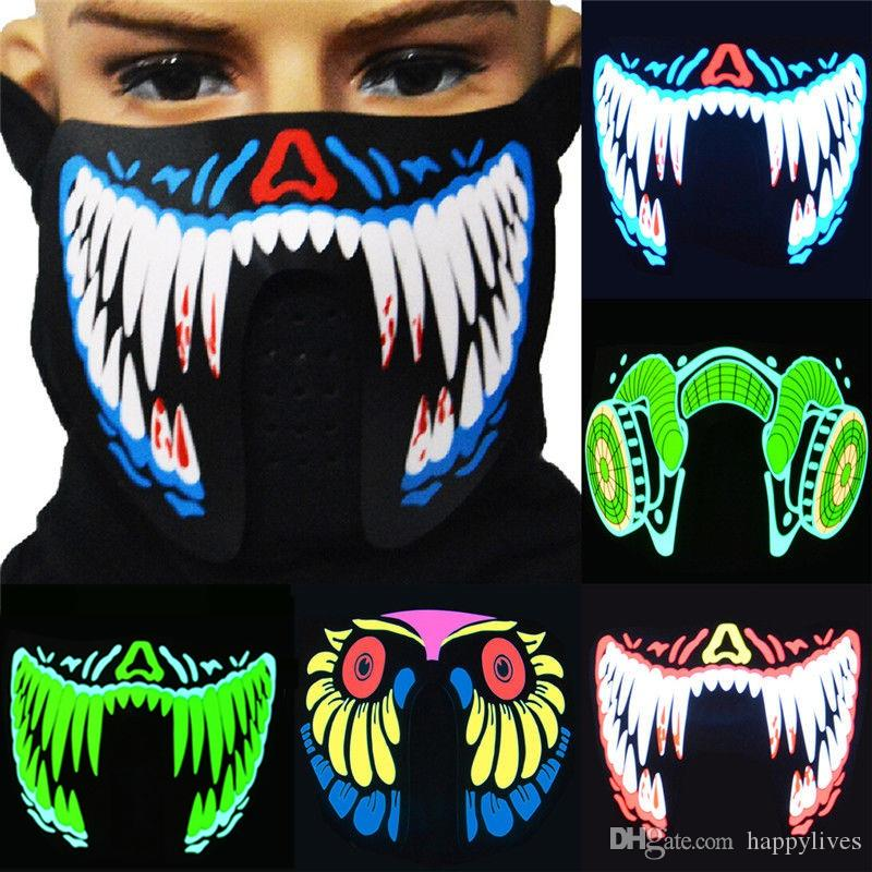 Halloween-Masken LED-Masken Kleidung Big Terror Masken Cold Light Helmet Festival-Party-glühender Tanz feste Stimme aktivierte Musik-Maske