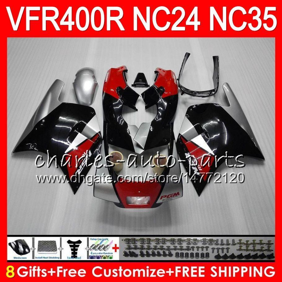 RVF400R para HONDA VFR400 R NC24 V4 VFR400R 87 88 94 95 96 81HM.2 RVF VFR 400 R NC35 VFR 400R 1987 1988 1994 1995 1996 Carenados de color rojo plateado