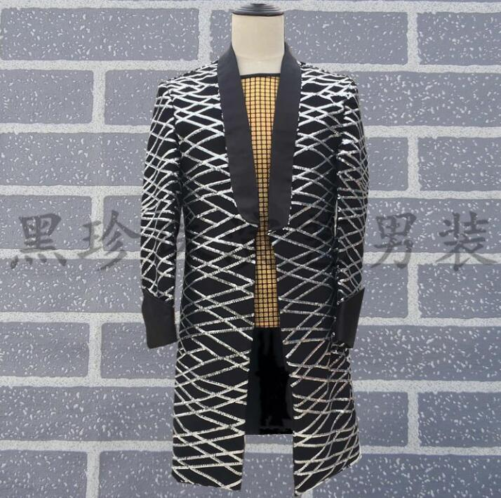 Personalized Men Suits Designs Masculino Homme Rock Stage Costumes For Singers Mens Long Blazer Clothes Star Style Dress Punk