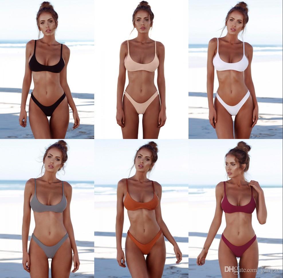 Yeni Katı Thong Brezilyalı Bikini 2 Adet Set Seksi Mayo Kadınlar Plus Size Mayolu Halter Bikini Seti Basit Mayo RF0785