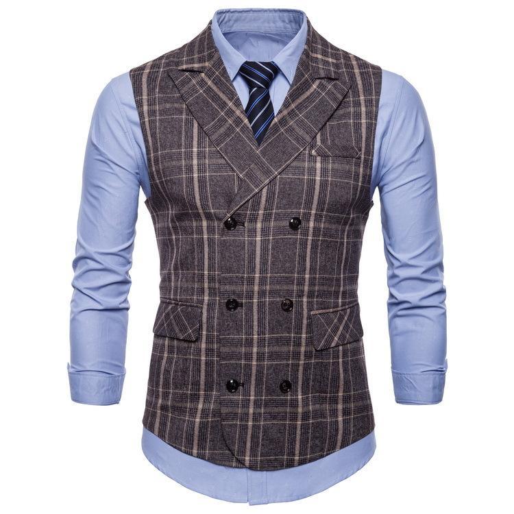 business casual dos homens novo estilo colete fila dupla fivela Primavera colete moda xadrez e estilo outono -59
