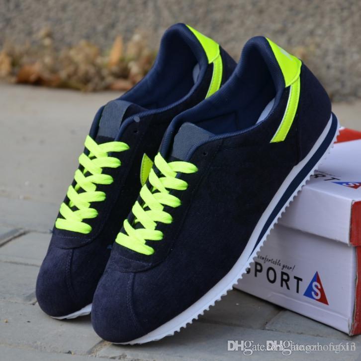 Klasik Cortez Deri Rahat Ayakkabılar Sıcak Satış Eğitmenler Erkekler Için Dantel-Up Nefes Moda Sonbahar Forrest Gump Run Flats Erkek Yetişkin Sneakers