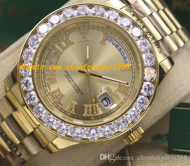 Luksusowe zegarki Męskie 41mm 18k Yellow Gold Data Z Większym Diamentowym Automatyczny Watch Męski Zegarek