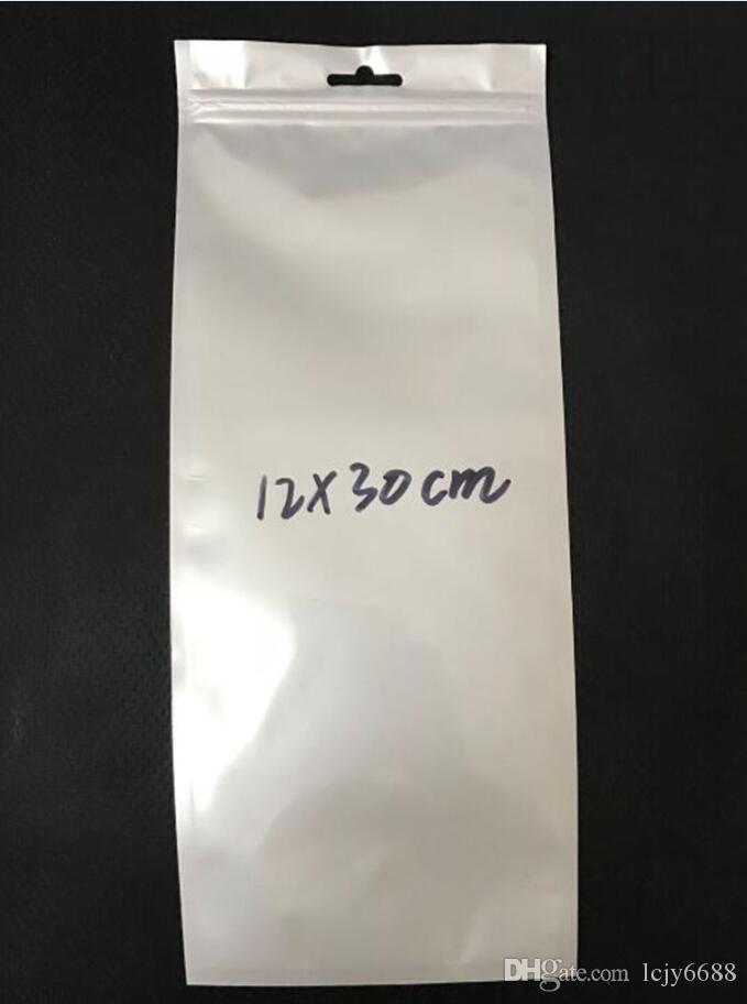 Продвижение по продажам Продвижение длинный стиль 12 * 30 см Чистый белый самоуплотнительная молния пластиковая розничная упаковка сумка розничная упаковка с зависанием