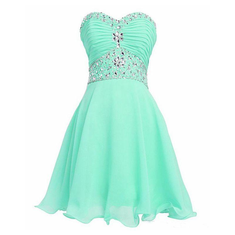 Compre Menta Verde Vestido Corto Vestidos De Graduación 2018 Crystal Nuevo Vestido De Formatura Curto Barato Gasa Vestido De Envío Rápido Libre A