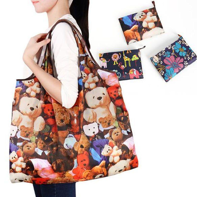 Neue wasserdichte faltbare Einkaufstaschen aus Nylon Wiederverwendbare Aufbewahrungstasche Umweltfreundliche Einkaufstaschen Tragetaschen Große Kapazität