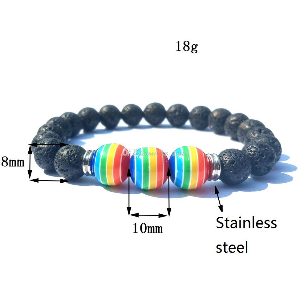 10MM Rainbow Striped 8mm Black Lava Stone Beads Elastic Bracelet Essential Oil Diffuser Bracelet Volcanic Rock Beaded Hand Strings