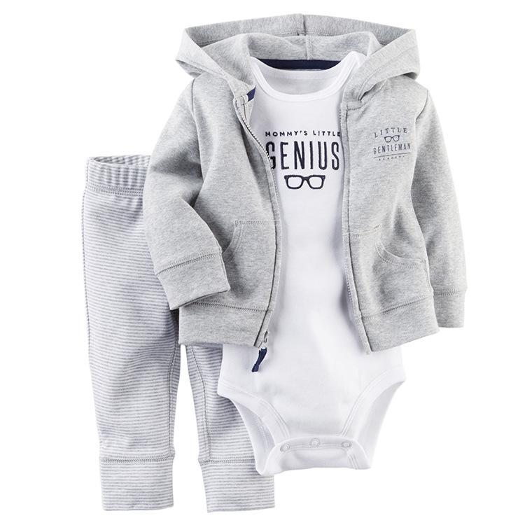 Meninos roupa Outfit infantil hoodies Roupa Boy tarja + macacão + calças 3PCS / set Luva longa do bebê do bebé do outono menino terno roupa Set