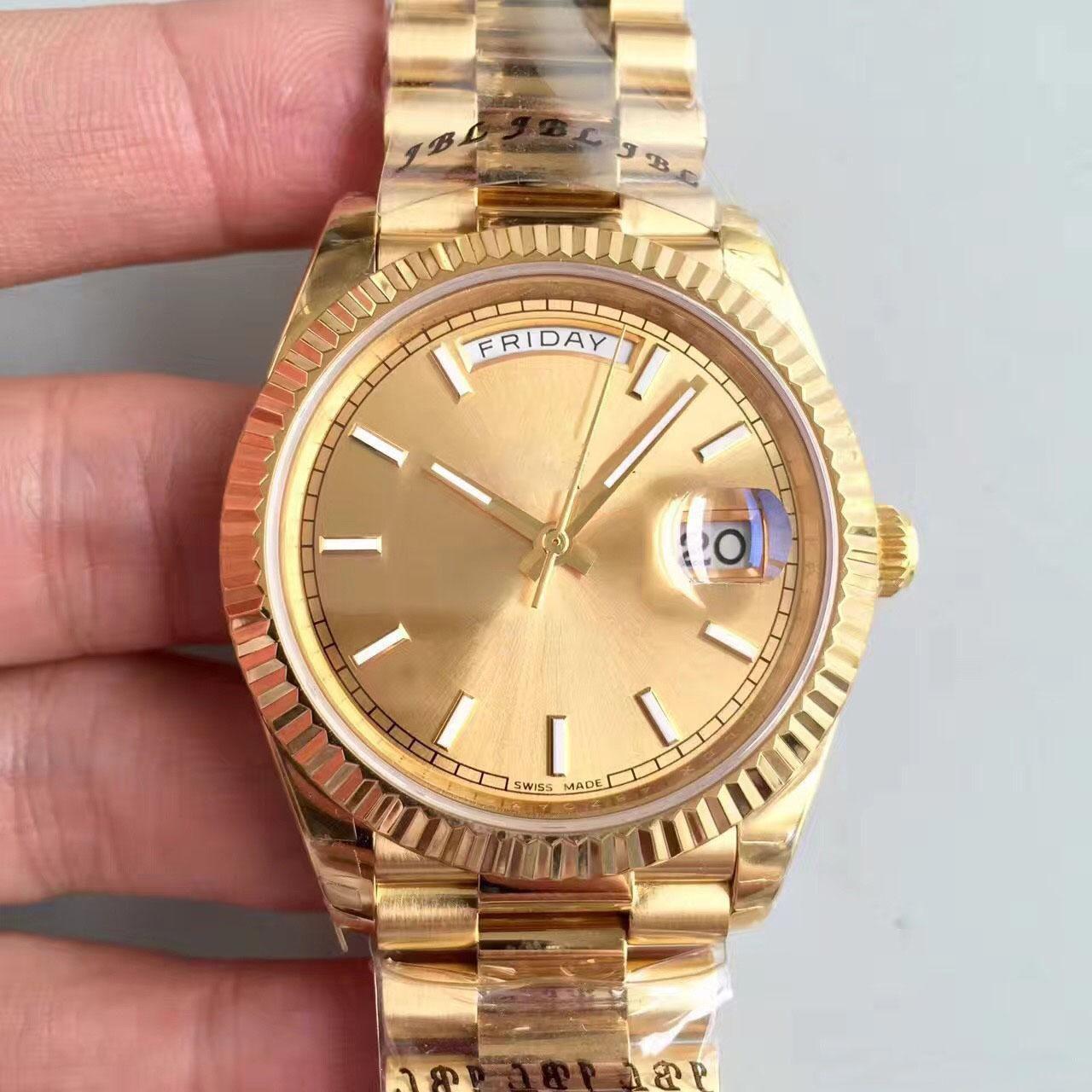 Venda quente dos homens Relógio Do Esporte 18 K Série DAYDATE Ouro Safira 40 MM de Ouro Dial 2813 de Aço Inoxidável Movimento Automático homens relógios