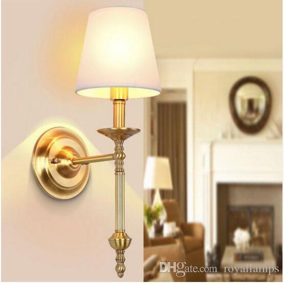 Hotel svitz Grande lâmpada de Parede Vertical de cobre para Villa Townhouse E14 Moderna Sala de estar Fundo de Parede arandela Quarto wandlamp