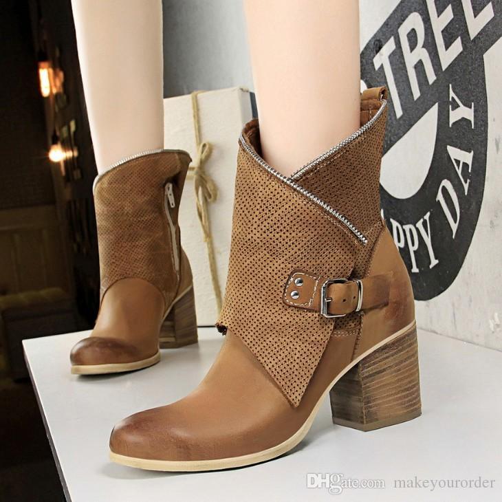 europe size 34-40 chain high heel rude heel round nose rivet buckle women black beige color short boots 589
